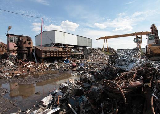 Miejsce na którym przeprowadzana jest rozbiórka i demontaż metali